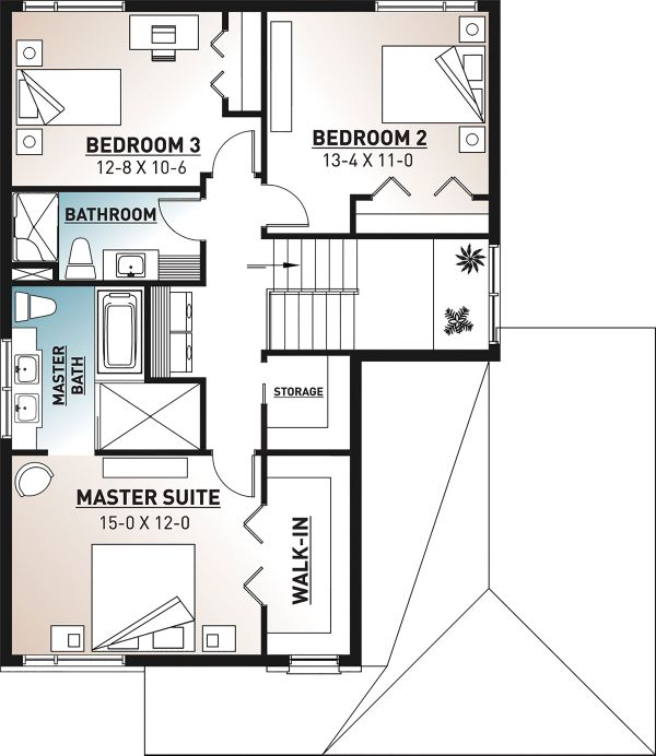 Contemporary Floor Plan - Upper Floor Plan Plan #23-2706