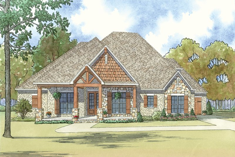 Country Style House Plan - 3 Beds 3.5 Baths 2410 Sq/Ft Plan #923-36 Exterior - Front Elevation