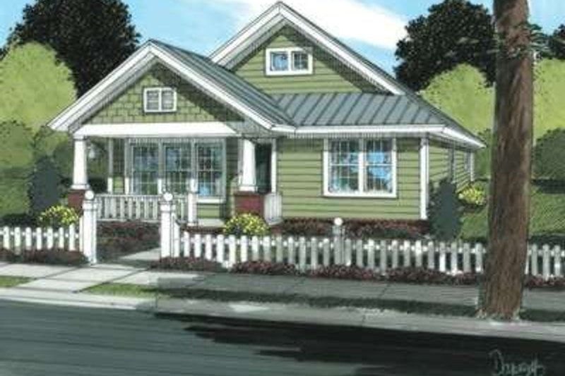 Craftsman Style House Plan - 3 Beds 2 Baths 1260 Sq/Ft Plan #20-1879 Exterior - Front Elevation