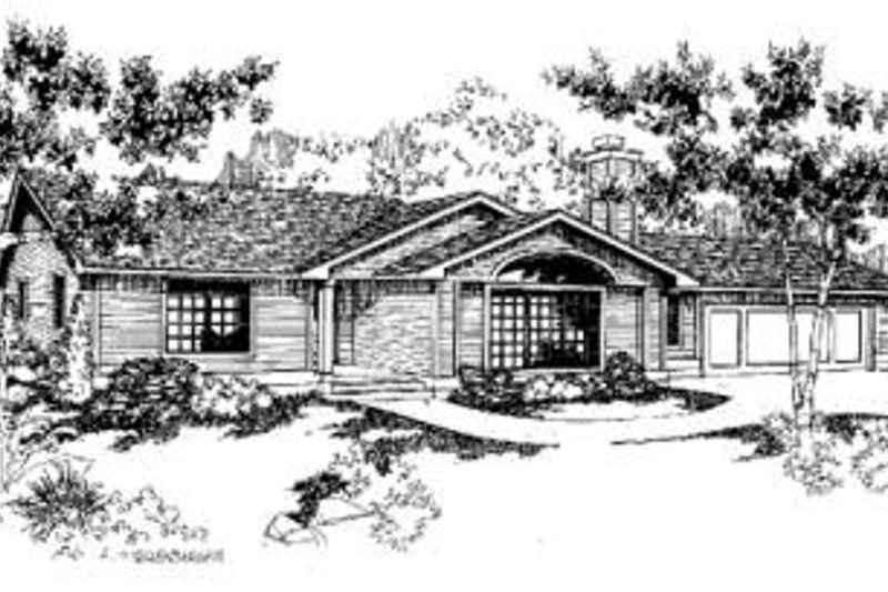 Ranch Style House Plan - 3 Beds 2 Baths 1584 Sq/Ft Plan #60-324 Exterior - Front Elevation