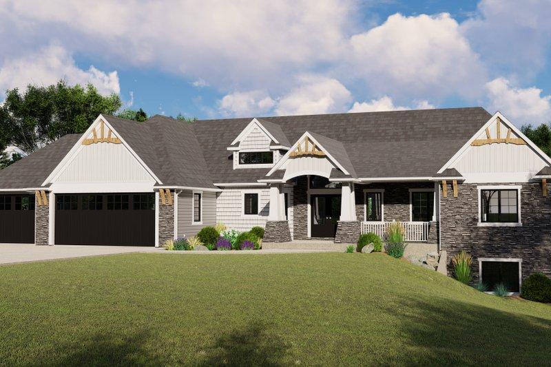 Architectural House Design - Craftsman Exterior - Front Elevation Plan #1064-71