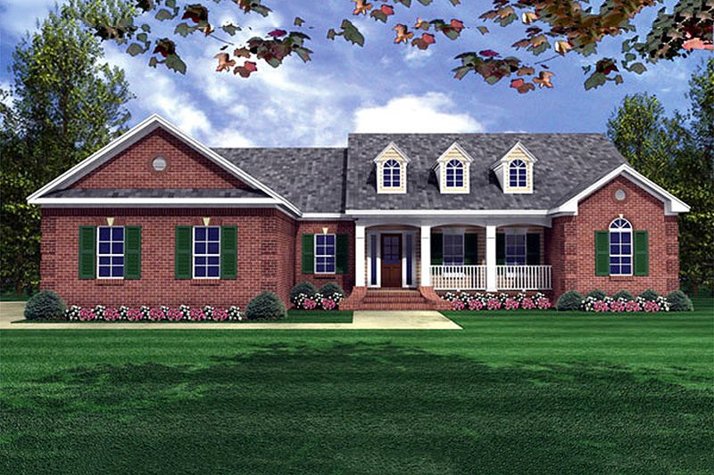 Country Style House Plan - 4 Beds 2.5 Baths 2000 Sq/Ft Plan #21-145 Exterior - Front Elevation