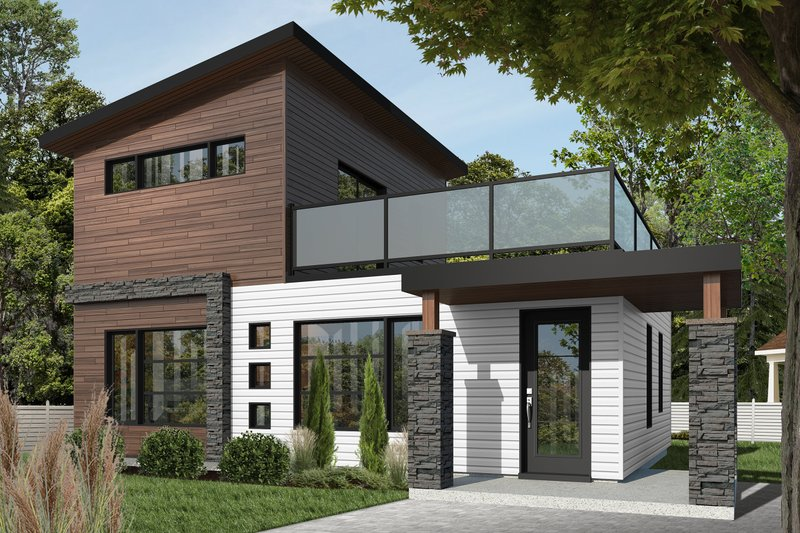 Home Plan - Contemporary Exterior - Front Elevation Plan #23-2297