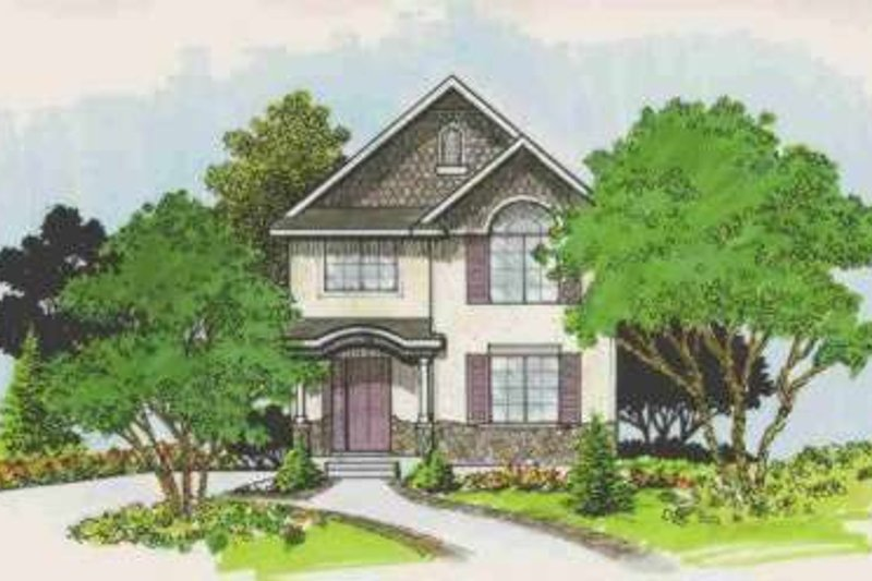 Cottage Style House Plan - 3 Beds 2.5 Baths 1300 Sq/Ft Plan #308-126 Exterior - Front Elevation
