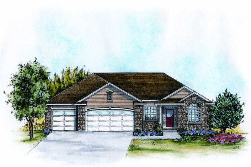 Ranch Exterior - Front Elevation Plan #20-2086