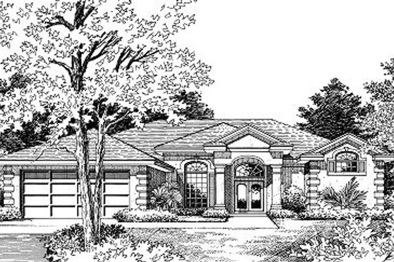 Mediterranean Style House Plan - 4 Beds 3 Baths 2253 Sq/Ft Plan #417-222 Exterior - Front Elevation