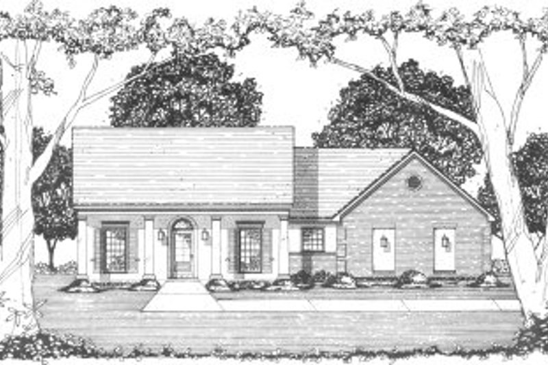 Southern Style House Plan - 4 Beds 2 Baths 1489 Sq/Ft Plan #36-315 Exterior - Front Elevation