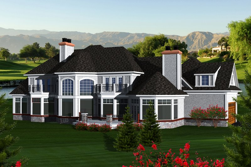European Exterior - Rear Elevation Plan #70-1145 - Houseplans.com