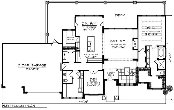 Craftsman Style House Plan - 4 Beds 3.5 Baths 3392 Sq/Ft Plan #70-1287 Floor Plan - Main Floor Plan