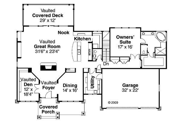 House Plan Design - Craftsman Floor Plan - Main Floor Plan #124-753