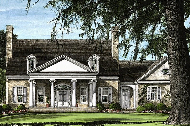 Southern Exterior - Front Elevation Plan #137-102 - Houseplans.com