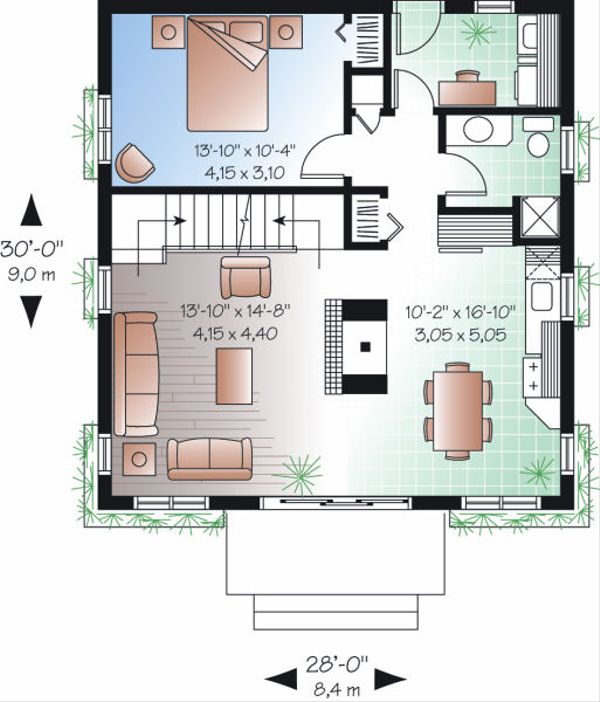 European Floor Plan - Main Floor Plan Plan #23-868