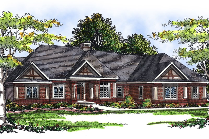 Traditional Exterior - Front Elevation Plan #70-309 - Houseplans.com