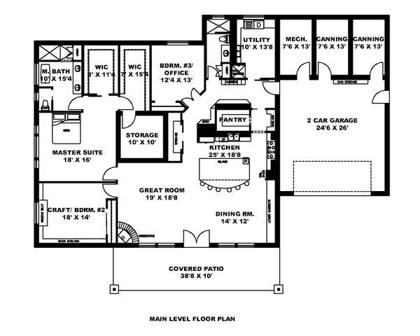 Dream House Plan - Ranch Floor Plan - Main Floor Plan #117-890