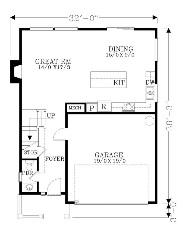 Craftsman Floor Plan - Main Floor Plan #53-459