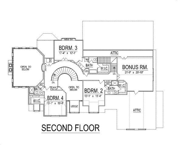 European Floor Plan - Upper Floor Plan Plan #458-14