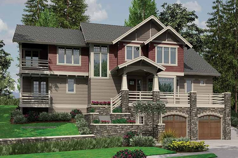 Craftsman Exterior - Front Elevation Plan #48-364 - Houseplans.com