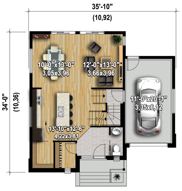 Modern Floor Plan - Main Floor Plan Plan #25-4589
