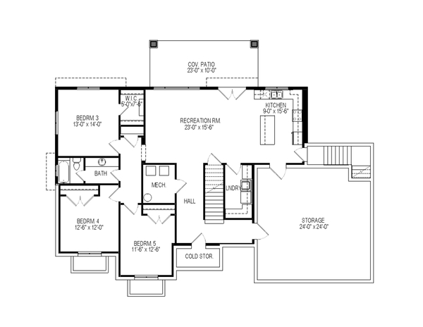 Craftsman Floor Plan - Lower Floor Plan Plan #920-108