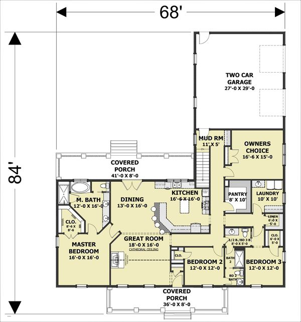 Dream House Plan - Southern Floor Plan - Main Floor Plan #44-244
