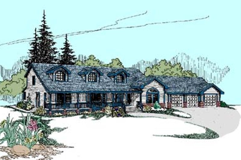 Traditional Exterior - Front Elevation Plan #60-557 - Houseplans.com