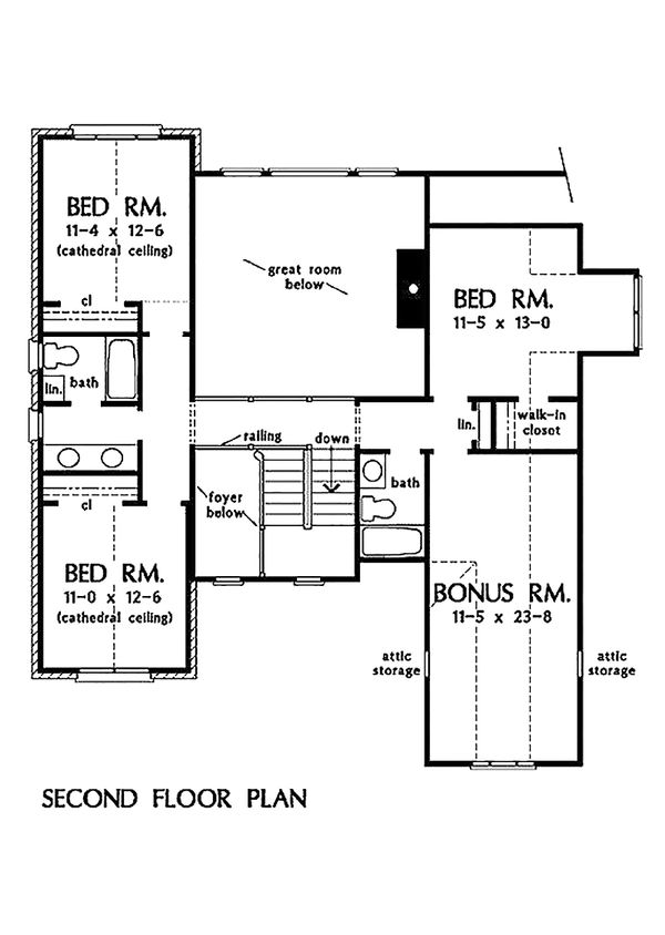 Traditional Floor Plan - Upper Floor Plan Plan #929-45