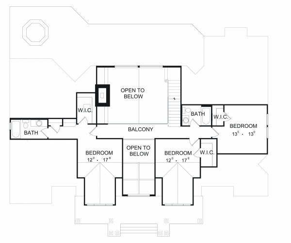 European Floor Plan - Upper Floor Plan Plan #417-391