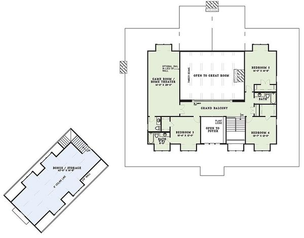 Country Floor Plan - Upper Floor Plan Plan #17-2398