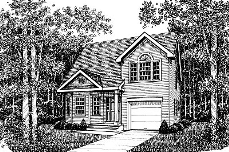 Traditional Style House Plan - 3 Beds 2.5 Baths 1703 Sq/Ft Plan #12-223 Exterior - Front Elevation