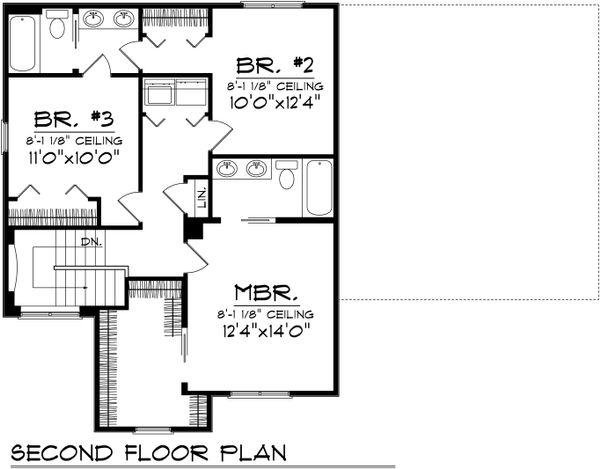 Traditional Floor Plan - Upper Floor Plan Plan #70-1028