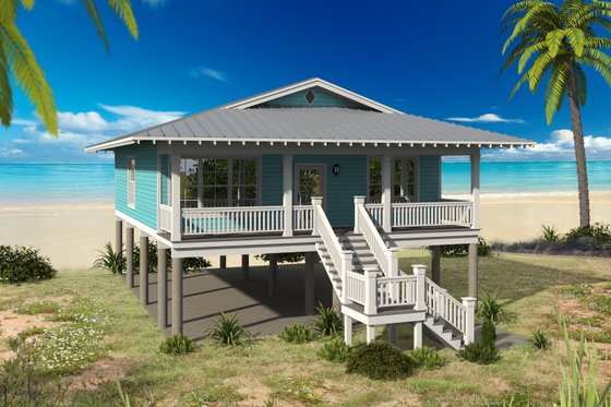Beach Exterior - Front Elevation Plan #932-105