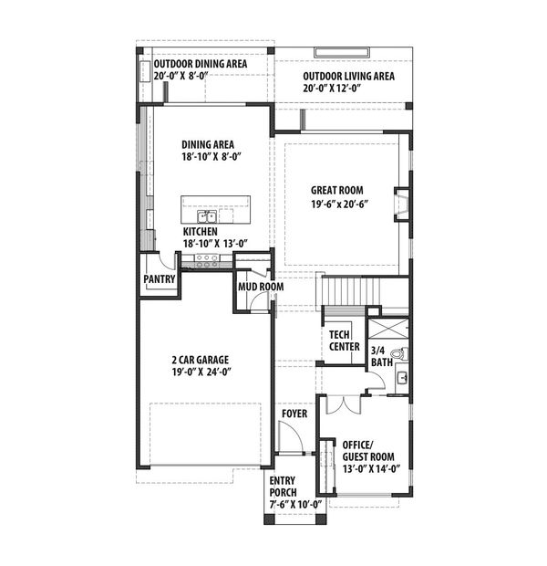 Contemporary Floor Plan - Main Floor Plan Plan #569-40