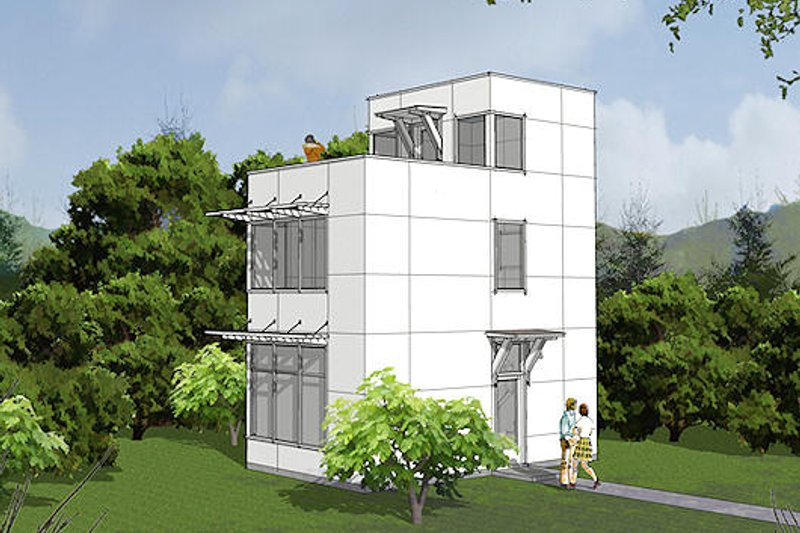 Dream House Plan - Modern Exterior - Front Elevation Plan #48-485