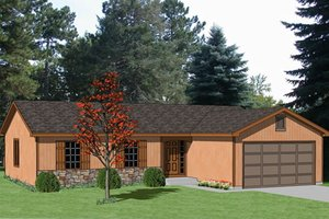 Ranch Exterior - Front Elevation Plan #116-174