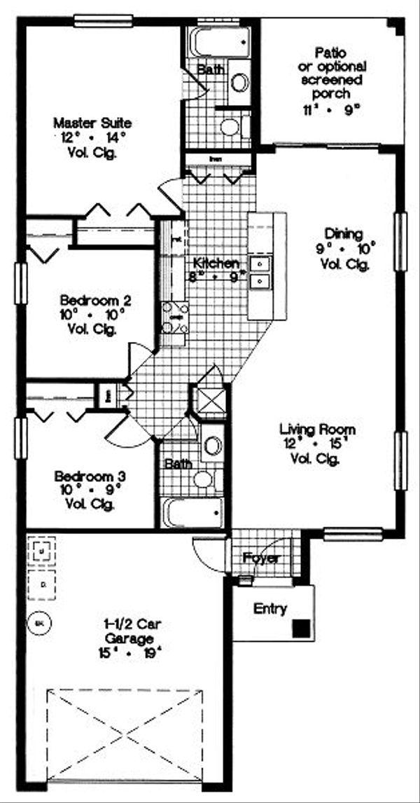 Mediterranean Floor Plan - Main Floor Plan Plan #417-105