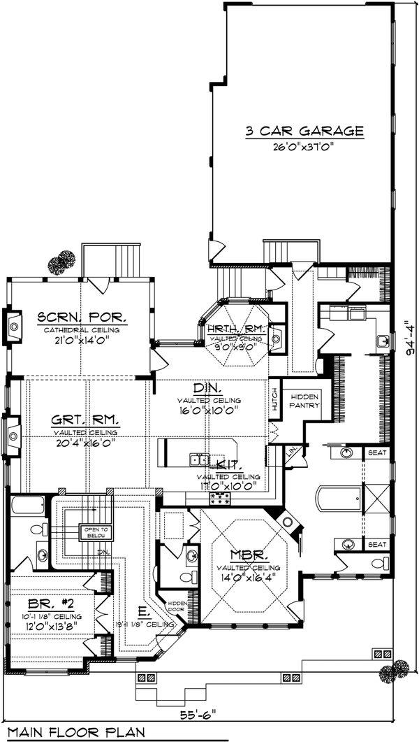 Craftsman Floor Plan - Main Floor Plan #70-1040