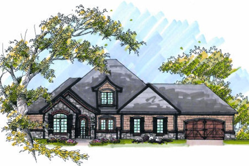 European Exterior - Front Elevation Plan #70-997