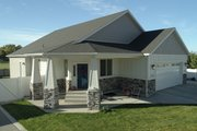 Ranch Style House Plan - 2 Beds 2 Baths 1801 Sq/Ft Plan #1060-40 Exterior - Front Elevation