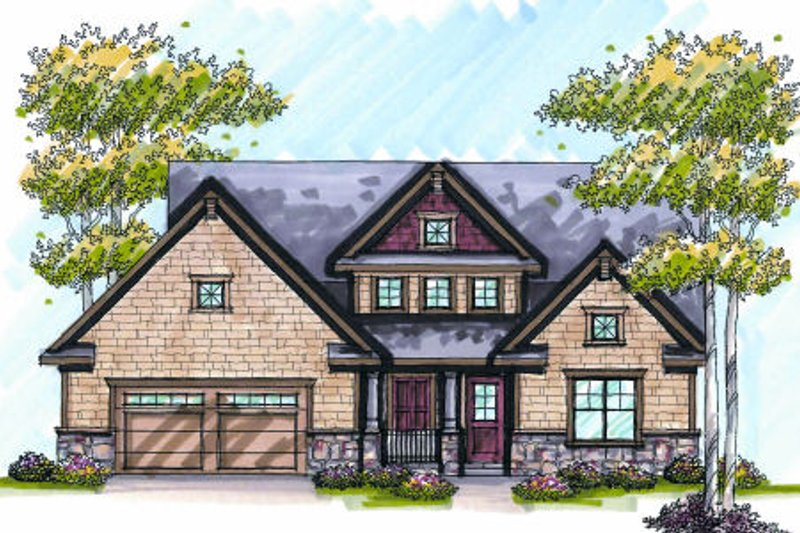 Craftsman Exterior - Front Elevation Plan #70-995