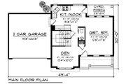 Craftsman Style House Plan - 3 Beds 2.5 Baths 1413 Sq/Ft Plan #70-1411 Floor Plan - Main Floor Plan