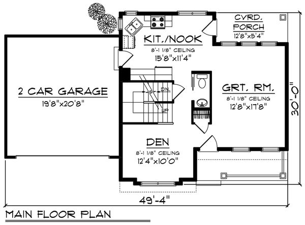 Craftsman Floor Plan - Main Floor Plan Plan #70-1411