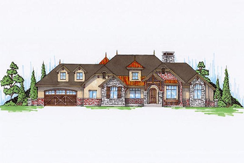 European Exterior - Front Elevation Plan #5-459