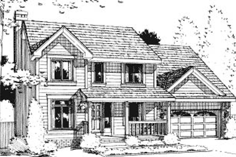 Traditional Style House Plan - 4 Beds 2.5 Baths 1881 Sq/Ft Plan #20-601 Exterior - Front Elevation