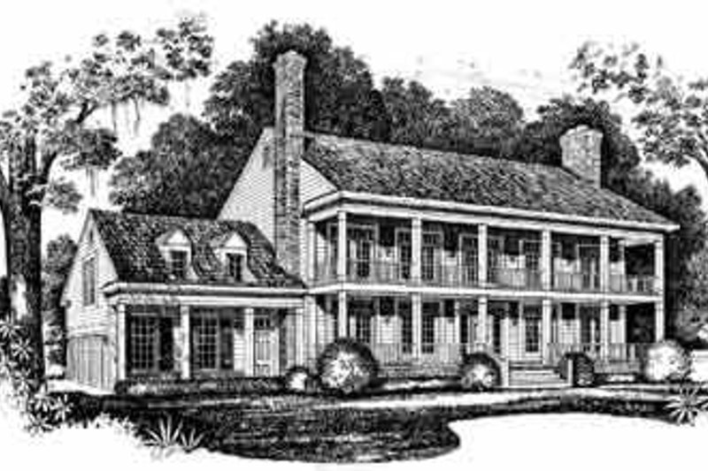 House Blueprint - Southern Exterior - Front Elevation Plan #72-385