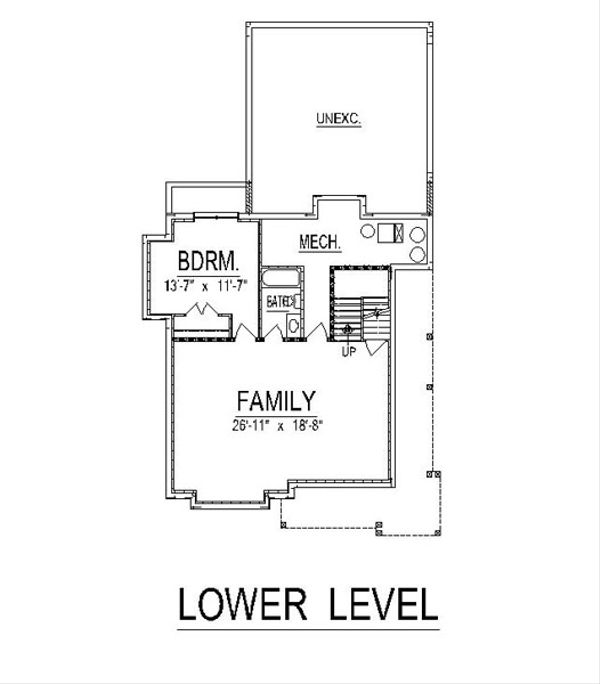 Craftsman Floor Plan - Lower Floor Plan Plan #458-15