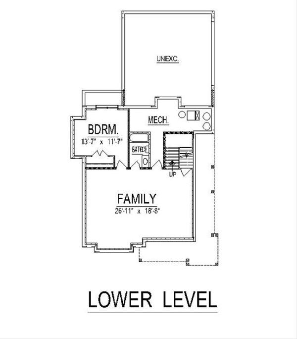 Craftsman Floor Plan - Lower Floor Plan #458-15