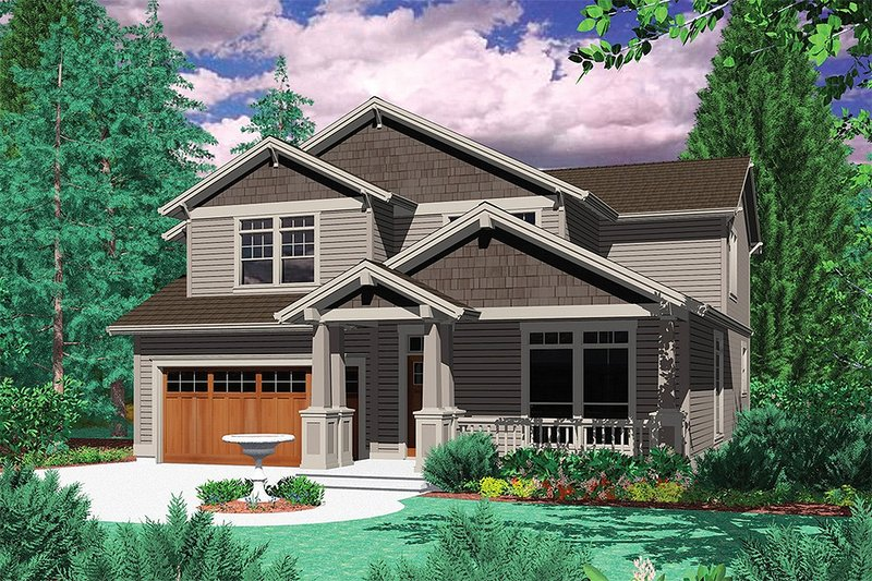 Craftsman Exterior - Front Elevation Plan #48-160