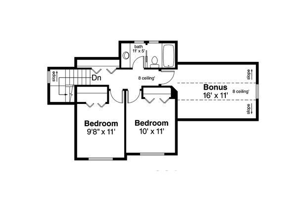 Country Floor Plan - Upper Floor Plan Plan #124-1060