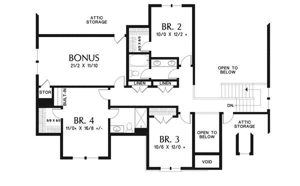 House Design - European Floor Plan - Upper Floor Plan #48-931