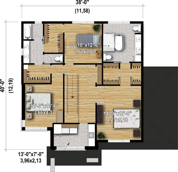Dream House Plan - Contemporary Floor Plan - Upper Floor Plan #25-4907